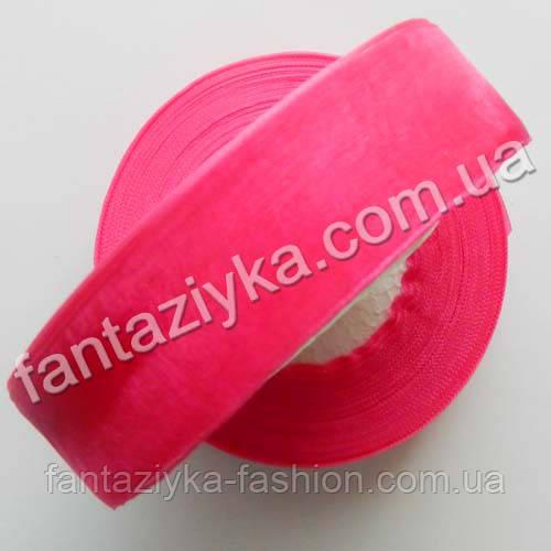 Лента органза 2,5 см, капроновая лента, фуксия (ярко-розовая)