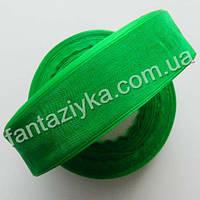 Лента органза 2,5 см, капроновая лента, зеленая