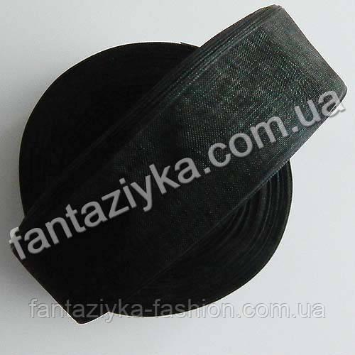 Лента органза 2,5 см, капроновая лента, черная