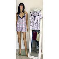 Удобный пижамный комплект из майки на кнопках и шорт для кормящих мам 44-50 р