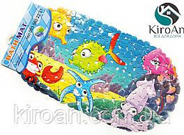 Яркий детский противоскользящий коврик в ванную на присосках (Морские обитатели) K9579
