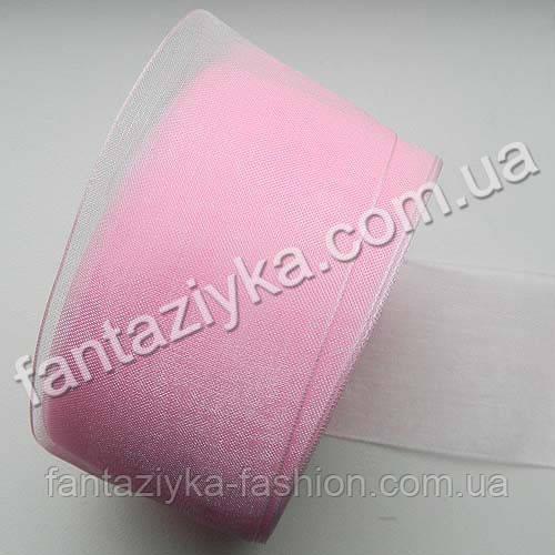 Лента из органзы широкая 4 см, светло-розовая