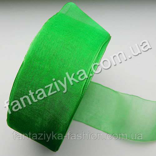 Лента из органзы широкая 4 см, светло-зеленая