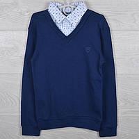 """Джемпер-обманка школьный """"Trandy"""" для мальчиков. 8-10-12-14 лет (128-164 см). Синий. Школьная форма оптом"""