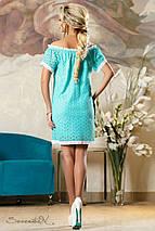 Женское летнее бирюзовое платье со спущенным плечом (2150 svt), фото 3