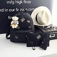 Стильный женский кожаный набор 3в1 рюкзак клатч визитница Moschino чёрный