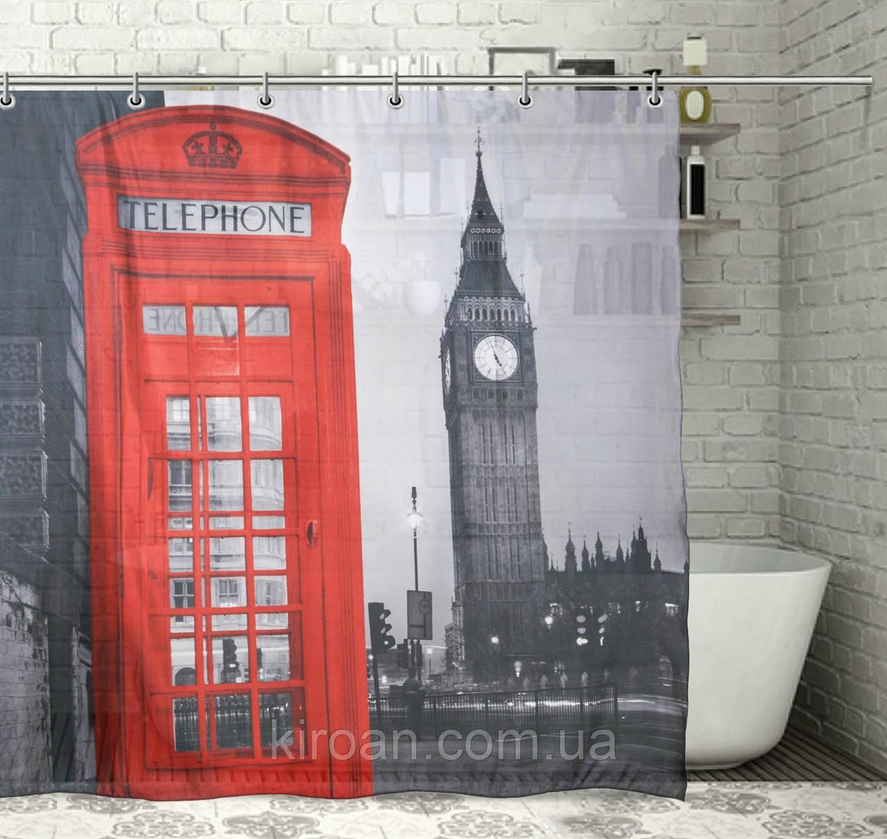 Занавеска для ванной фотопринт Биг Бен, Лондон 180х180см