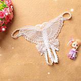 Белоснежные трусики с разрезом украшенные бабочкой, фото 9
