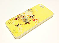 Чехол для iPhone 5 / 5s / SE силиконовый с рисунком цветы перламутровый желтый
