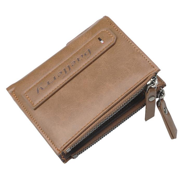 Мужской кошелек BAELLERRY Double Mini кожаный портмоне Short Серо-Коричневый (SUN1172)
