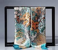 Атласный голубой платок с цветами ( женский шарфик )