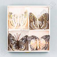 Бабочки из ткани на прищепке, песочная гамма, 8 шт.