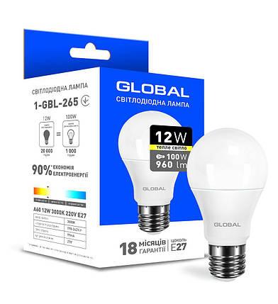 Светодиодная лампа Global A60 12W теплый свет E27, фото 2