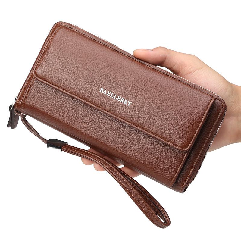 Мужской кошелек BAELLERRY Business Clutch кожаный портмоне на молнии с ремешком Long Кофейный (SUN1180)