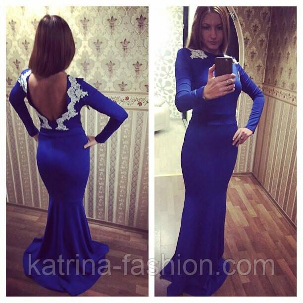 63638f8f641 Женское вечернее платье в пол с открытой спиной