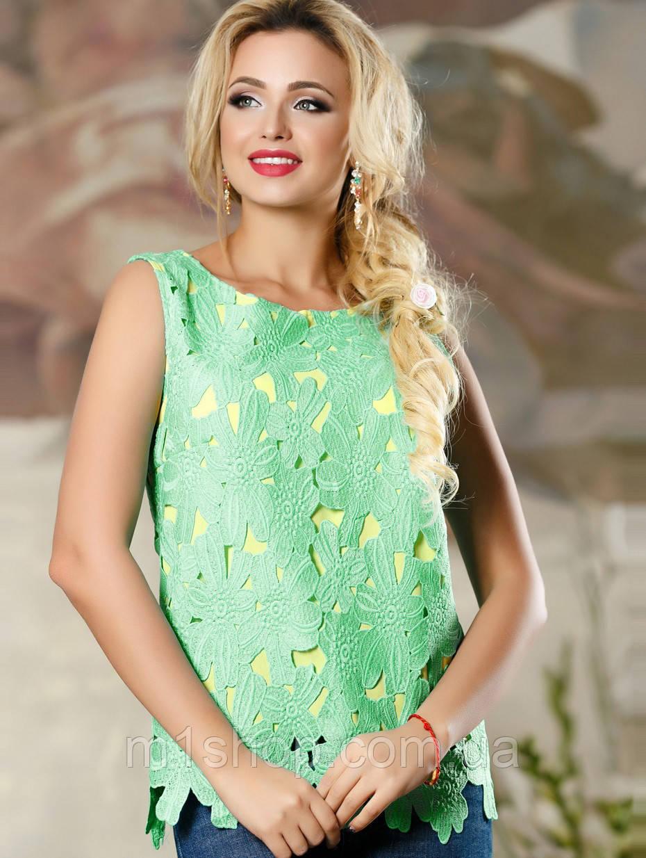 Красивая женская блуза с резными цветами (2158-2159-2161 svt)