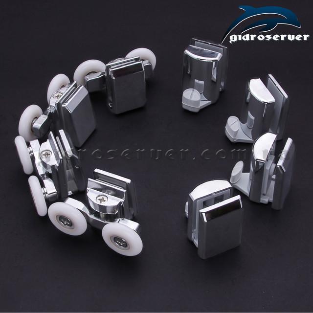 Комплект фурнитуры для душевой кабинки и гидробокса состоит из 4 штук роликов B-08B и 4 штук крючков K-02.