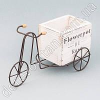 """Декор-кашпо """"Велосипед c деревянным ящиком"""", белый, 9.5×12×22 см"""