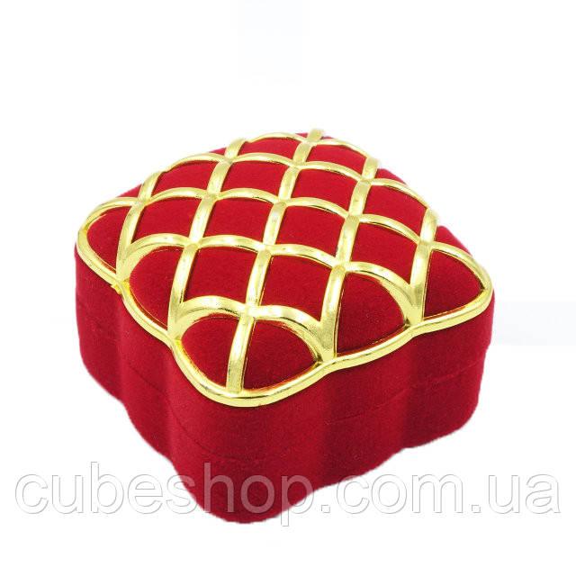 """Футляр для кольца """"Золотая сетка"""" красный"""