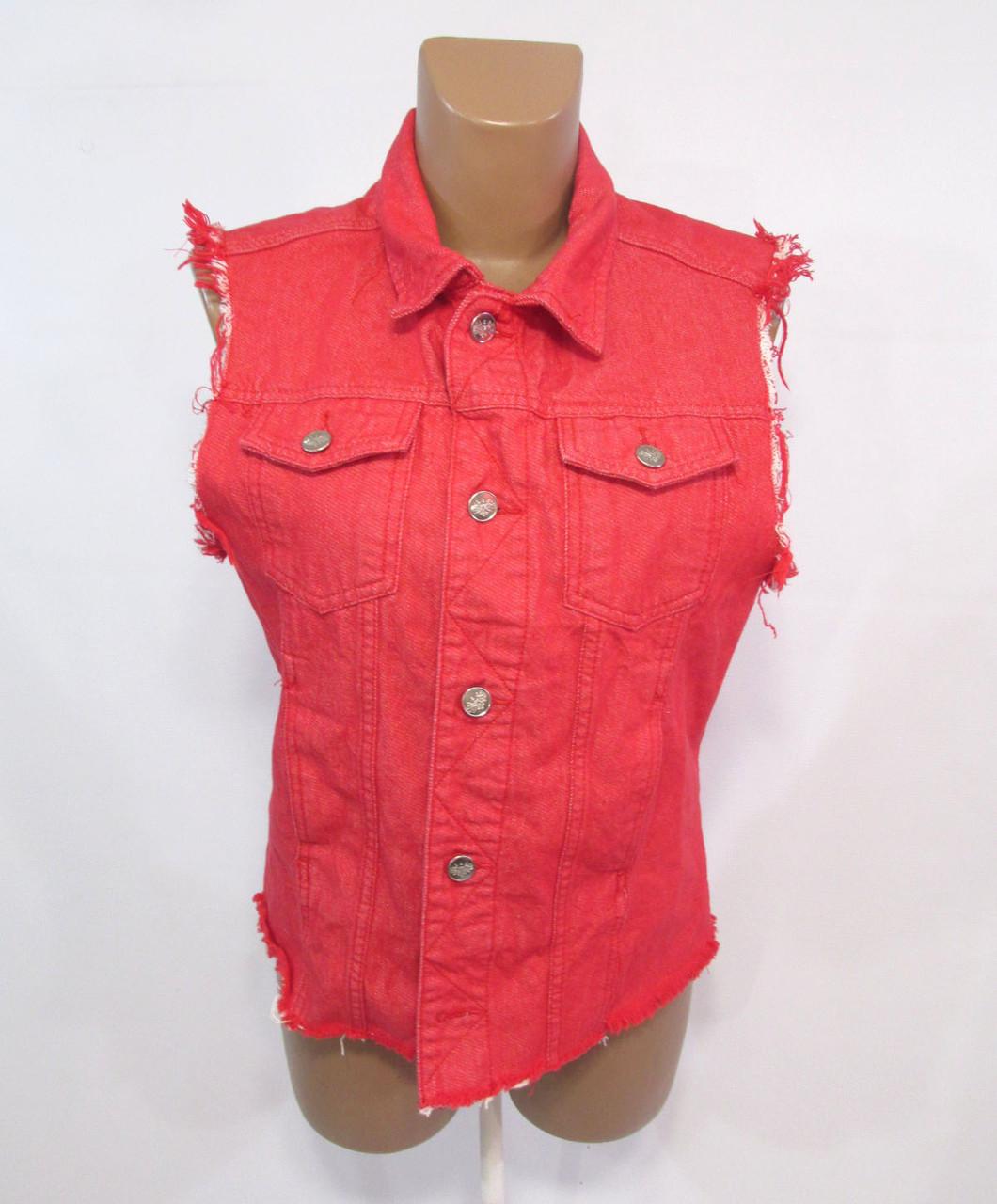 Куртка безрукавка Brother Annose, XS (6), красная, джинсовая, Как Нова