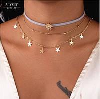 Чокер ожерелье на шею тройной