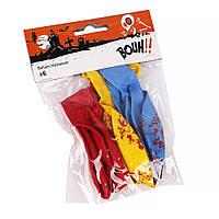 Шарики надувные цветные ''Хеллоуин'' 6шт.с рисунком(цвета микс)