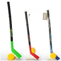 Клюшка для хоккея детская M 2912, клюшка 73см, шайба 8,5см, 3 цвета, в сетке, 73-13-4см