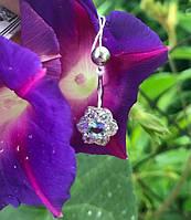 Пирсинг серебряный в пупок Цветочек