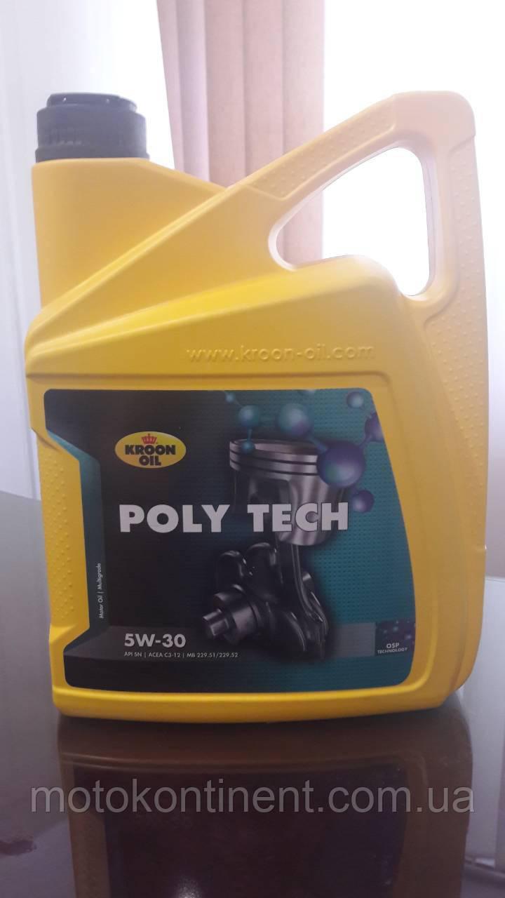 Моторное масло KROON OIL PolyTech 5W-30 синтетическое для бензин. и дизельн. моторов универсальное 5л. KL35467
