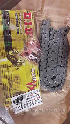 Мото цепь  530 DID 530VX 104 стальная  количество звенье 104 сальники  X-Ring, фото 2