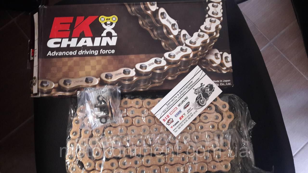 Мото цепь  520 EK CHAIN 520ZVX3 GG усиленная золотая тип сальника X-Ring размер цепи 520 на 110 звеньев