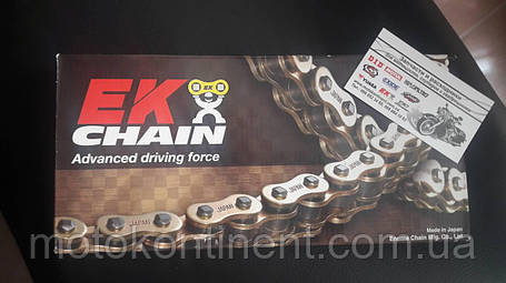 Мото цепь  520 EK CHAIN 520ZVX3 GG усиленная золотая тип сальника X-Ring размер цепи 520 на 116 звеньев, фото 2