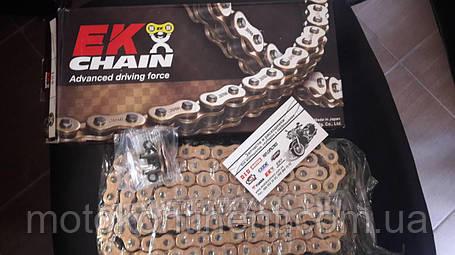 Мото цепь  520 EK CHAIN 520ZVX3 GG усиленная золотая тип сальника X-Ring размер цепи 520 на 118 звеньев, фото 2