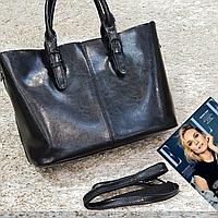 Женская  сумка черная из натуральной кожи, фото 1