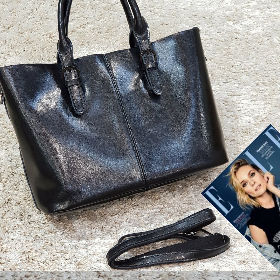 Женская  сумка черная из натуральной кожи