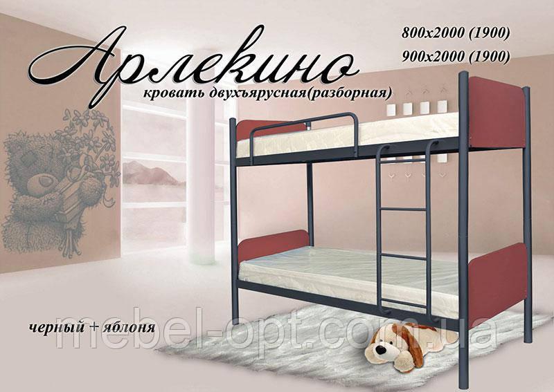 Двухъярусная кровать Арлекино, Возможность выбора цвета и структуры выкраски 80х190 см