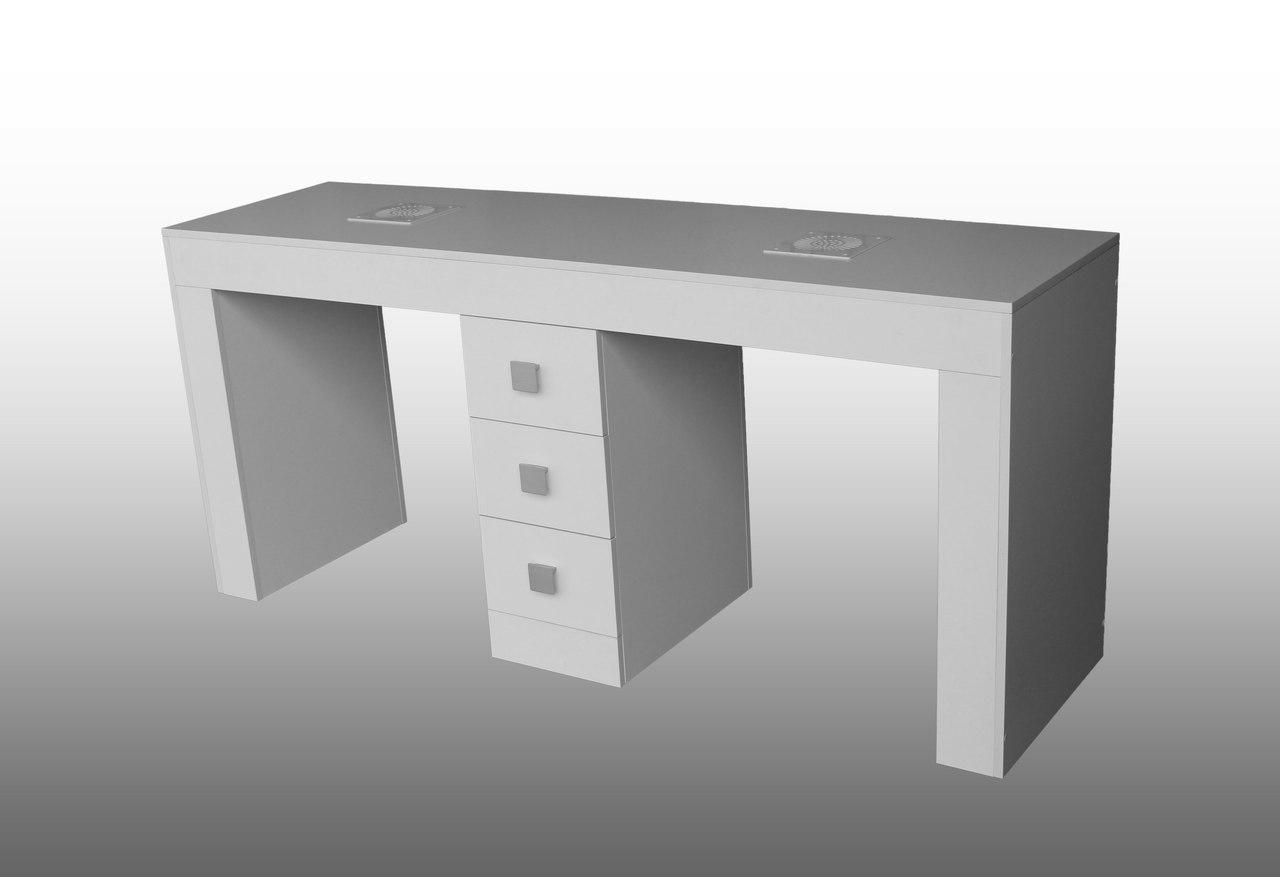Купить Оборудование и товары для предоставления услуг, Стол маникюрный Prestige Белый на 3 ящика, ручки Триумф (Markson TM), МарксонМеблі