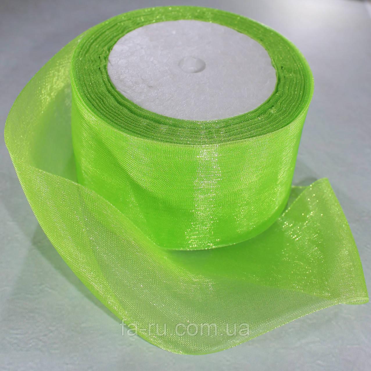 Органза лента. Цвет - зеленый. Ширина - 5 см, длина - 25 м