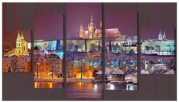 Модульная картина Берег вечернего города