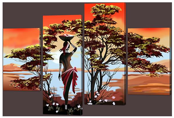 """Модульная картина """"Африканский мотив"""""""