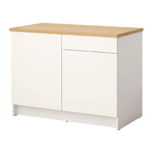 Напольный шкаф c дверцами и ящиком IKEA KNOXHULT 120 см белый 303.267.90