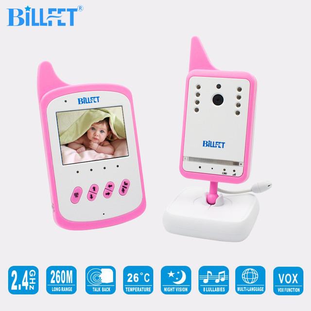 Видеоняня Baby Monitor BILLFET с аккумулятором в детском и родительском блоках. Розовая