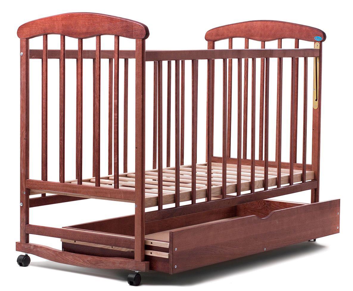 """Детская кроватка """"Наталка"""", дерево ольха, колёса, качалки, опускающийся бортик, темная с ящиком (шуфлядой), фото 1"""
