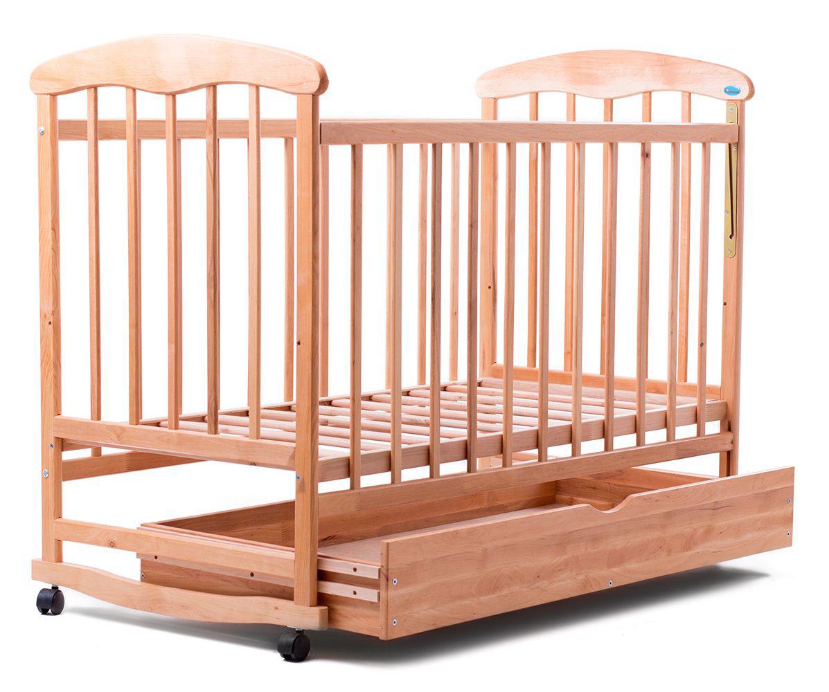 """Детская кроватка """"Наталка"""", дерево ольха, колёса, качалки, опускающийся бортик, светлая с ящиком (шуфлядой), фото 1"""