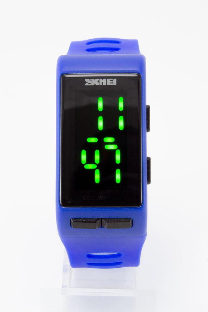 Наручные водонепроницаемые LED часы SKMEI (Скмеи), цвет корпуса и ремешка синий