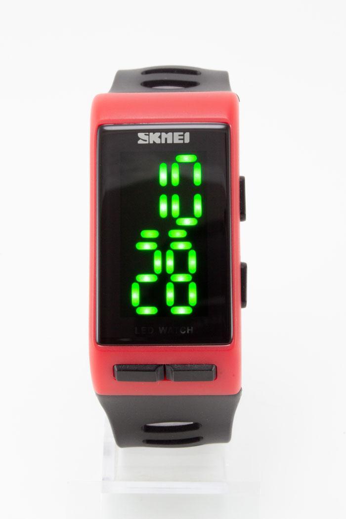 Наручные водонепроницаемые LED часы SKMEI (Скмеи), красный корпус с черным ремешком ( код: IBW129RB )