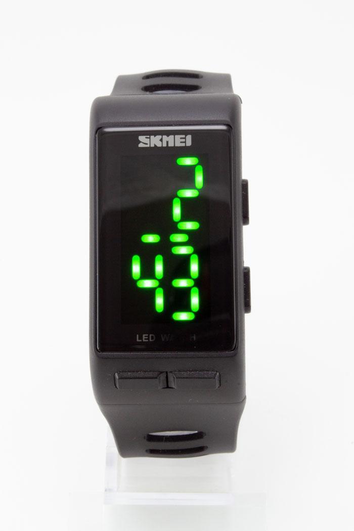 Наручные водонепроницаемые LED часы SKMEI (Скмеи), черные ( код: IBW129B )