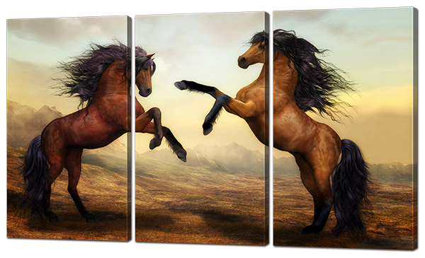 Модульная картина Битва коней