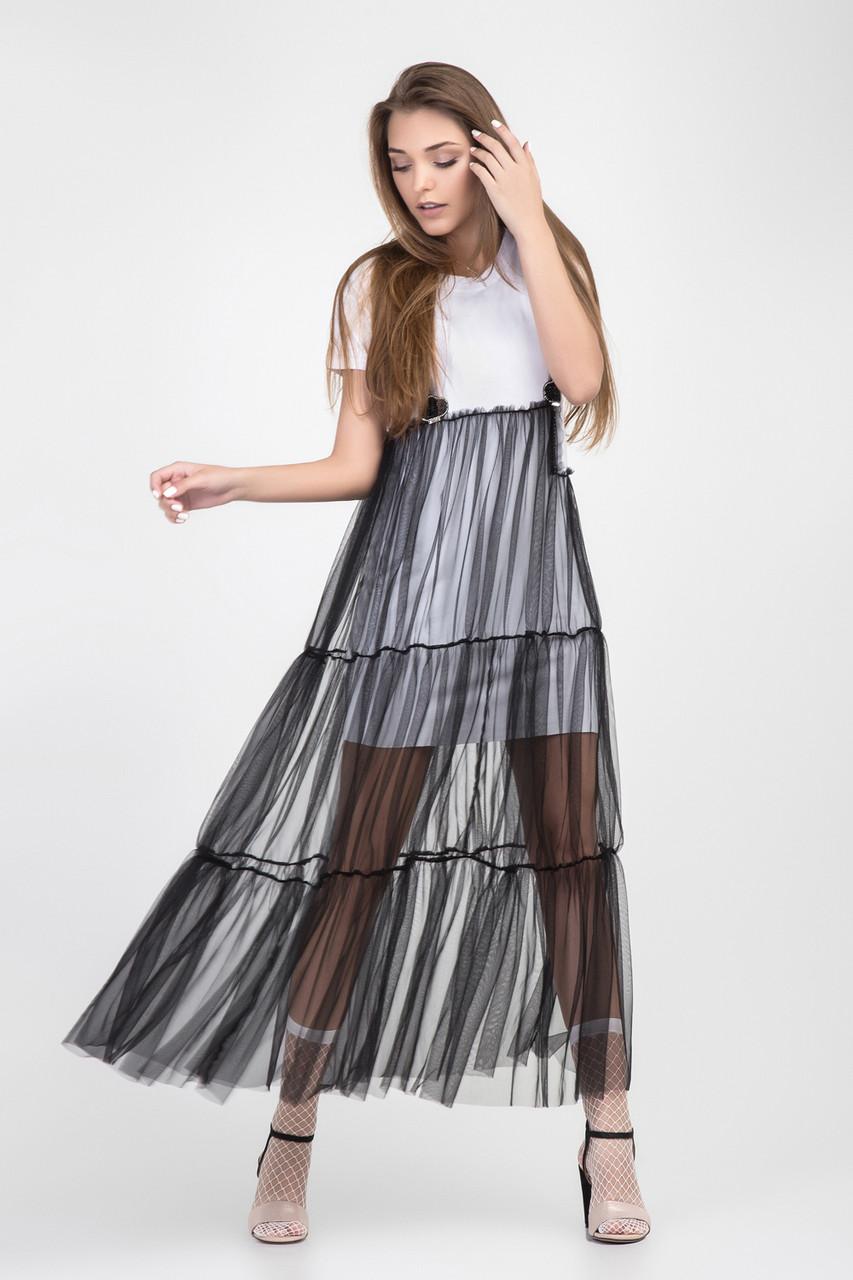 Стильное женское летнее длинное платье с фатином шифоном