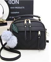 Небольшая женская сумка через плечо с ручкой.Черная КC58